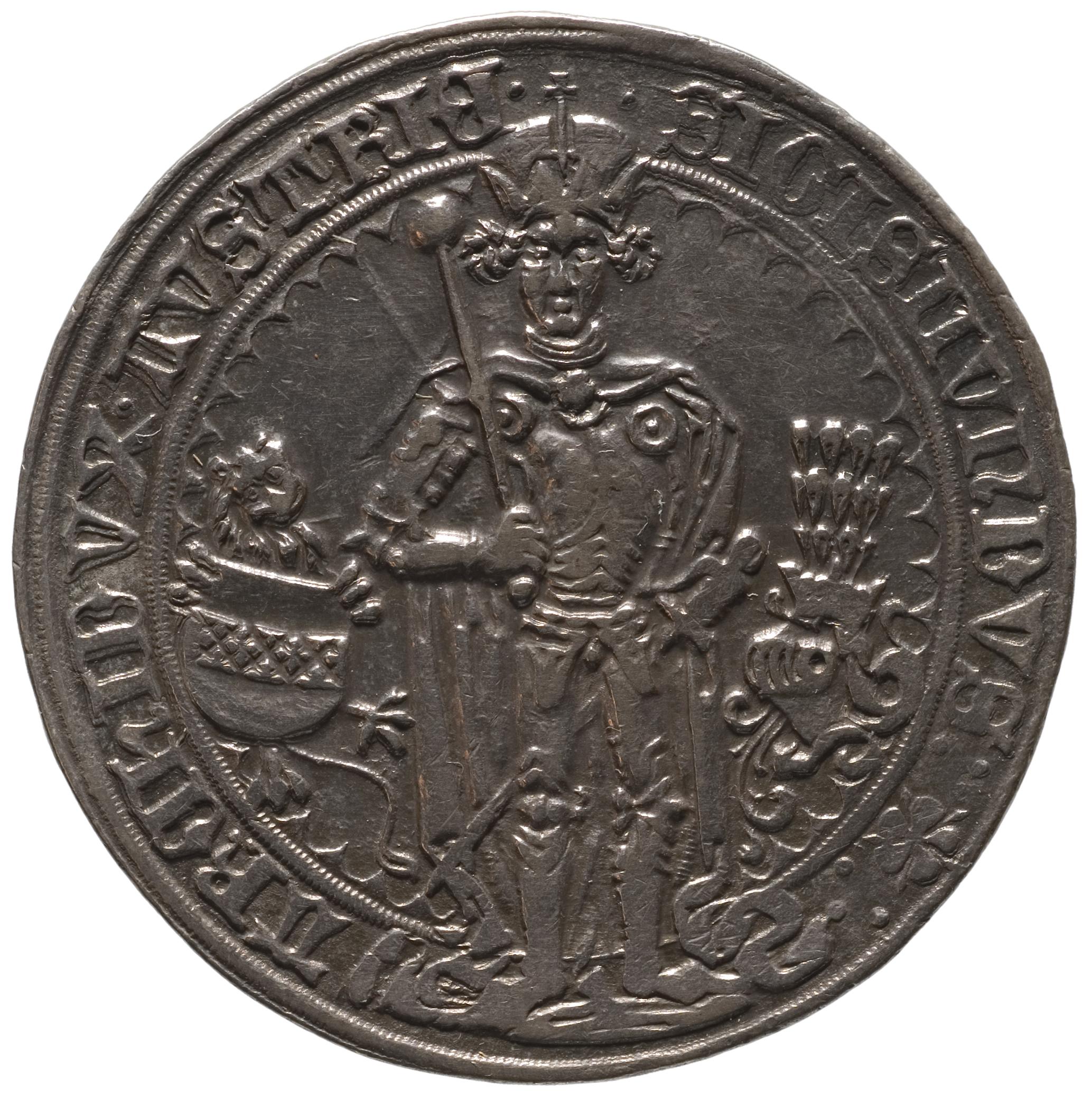 Ehg. Sigismund, Gulidner, frontal im Harnisch stehend, Turnierreiter von Sigismund, Ehzg.