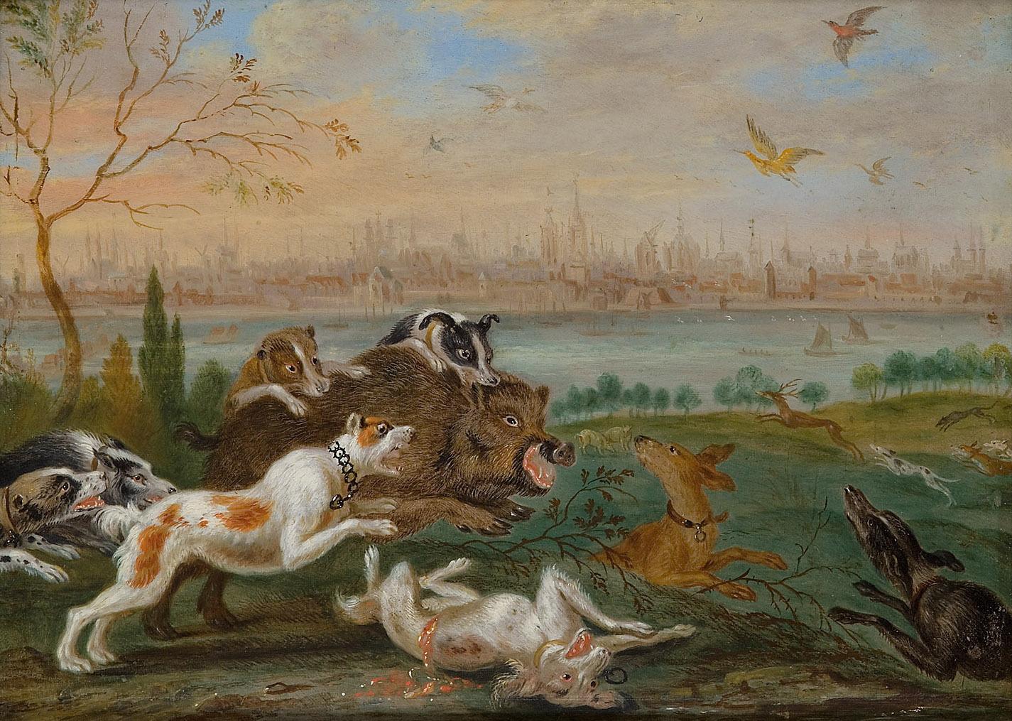 Ansichten aus den vier Weltteilen mit Szenen von Tieren: Köln von Ferdinand van Kessel