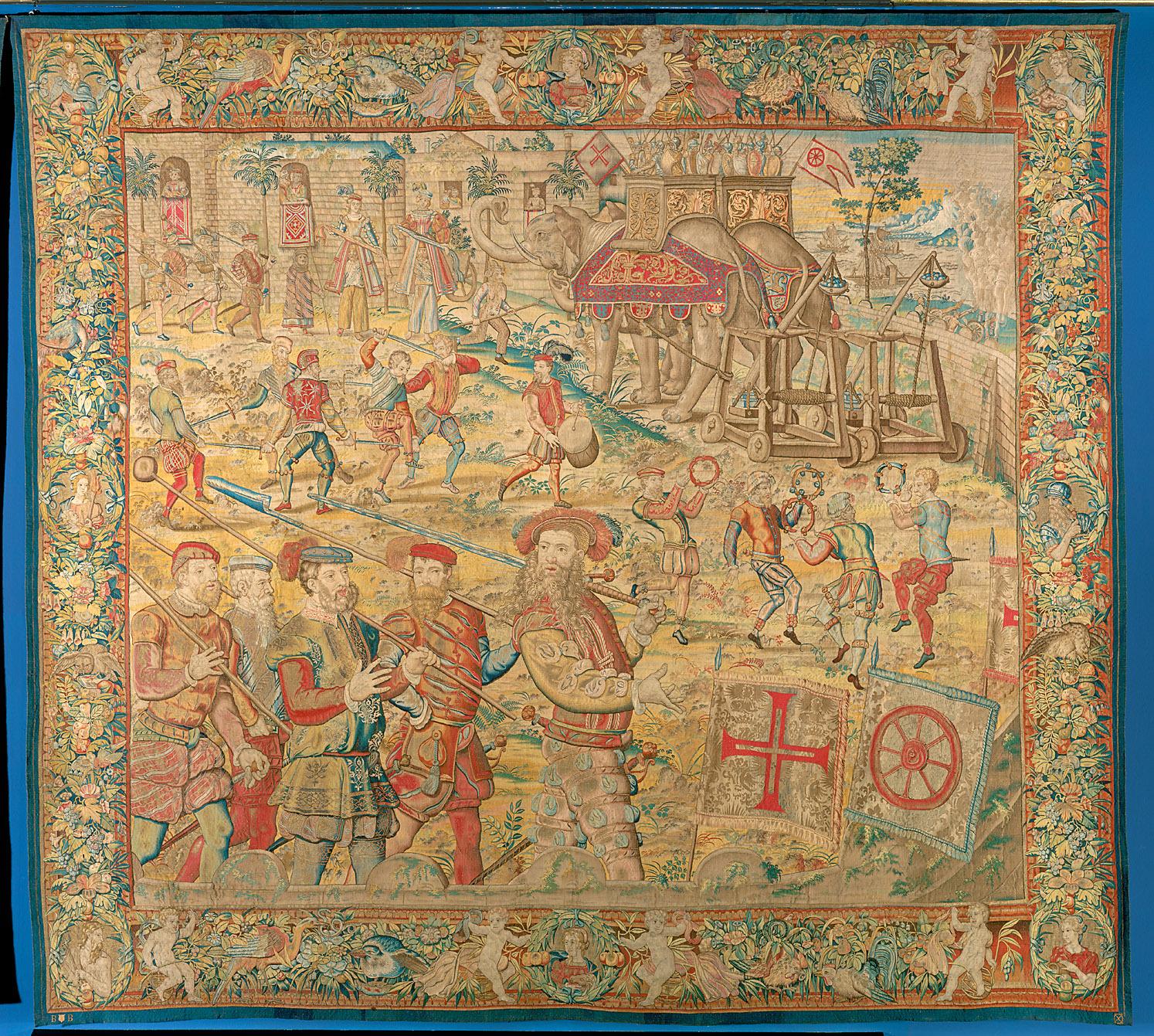 Fortsetzung des Triumphzuges: Elefanten mit Steinkatapulten, Possen und Tänzen