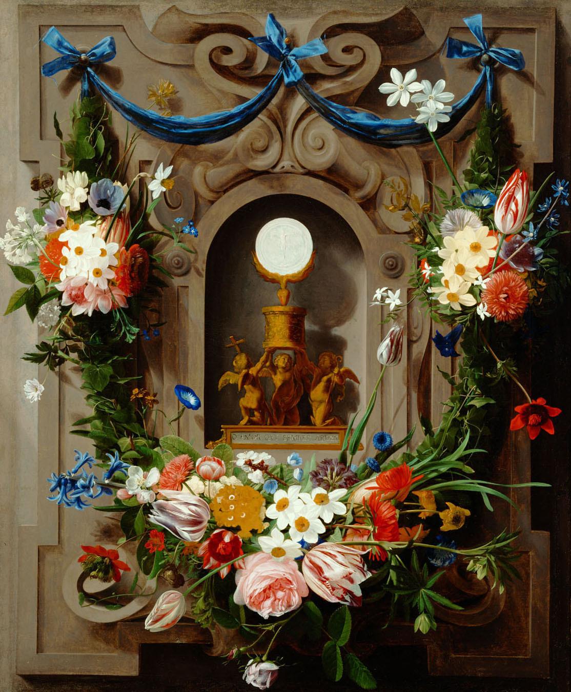 Eucharistie im Blumenkranz von Jan Anton van der Baren