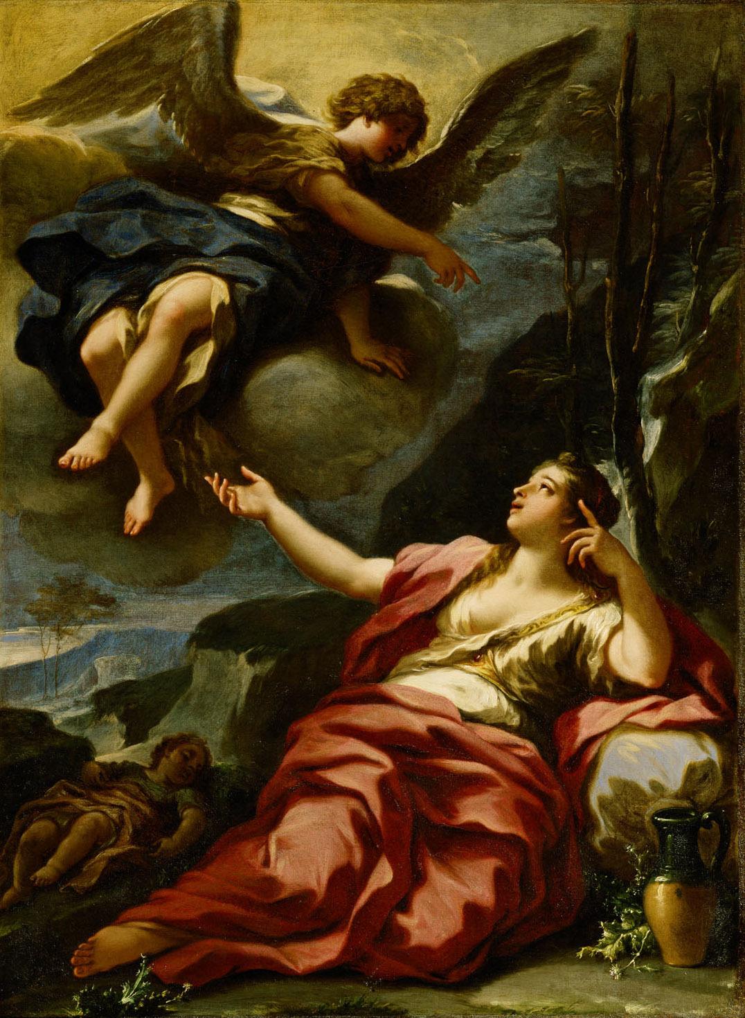 Der Engel erscheint Hagar in der Wüste von Giovan Battista Lama