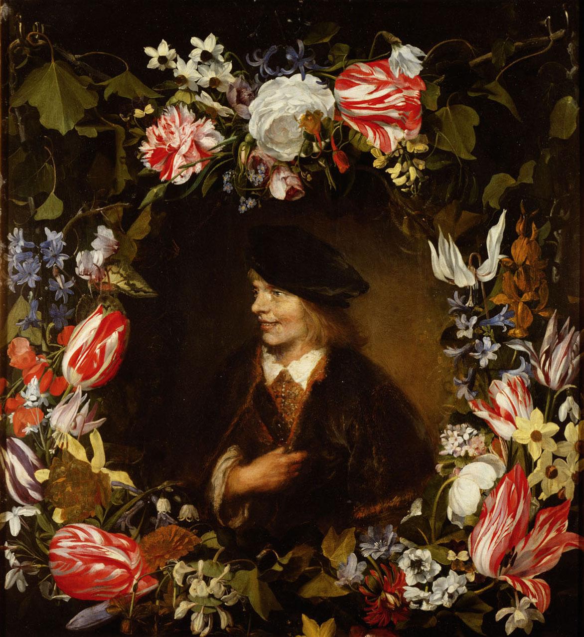 Bildnis eines jungen Mannes im Blumenkranz von Jan Lievens
