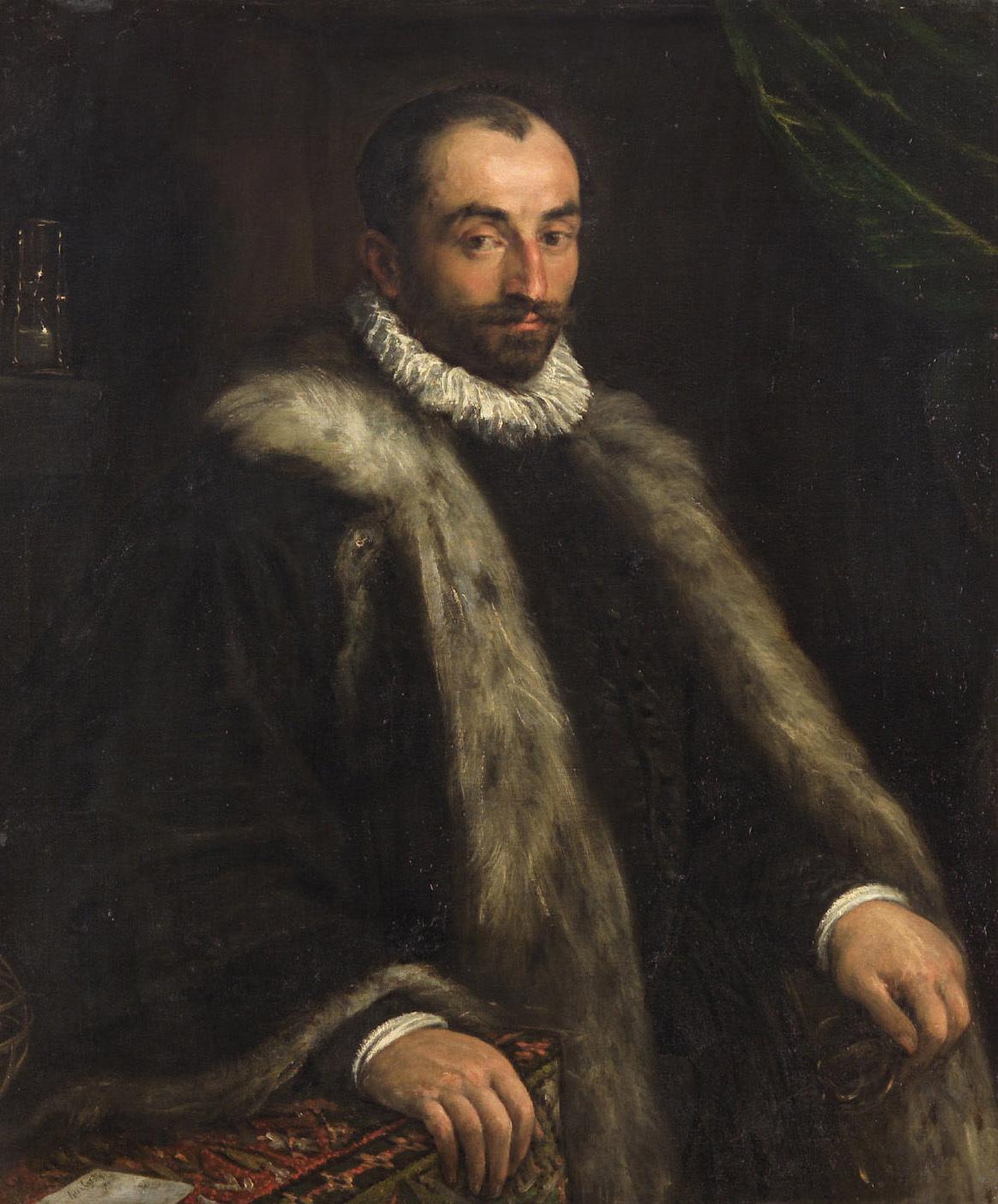 Bildnis eines bärtigen Mannes mit Sanduhr und Astrolabium von Francesco da Ponte, gen. Francesco Bassano