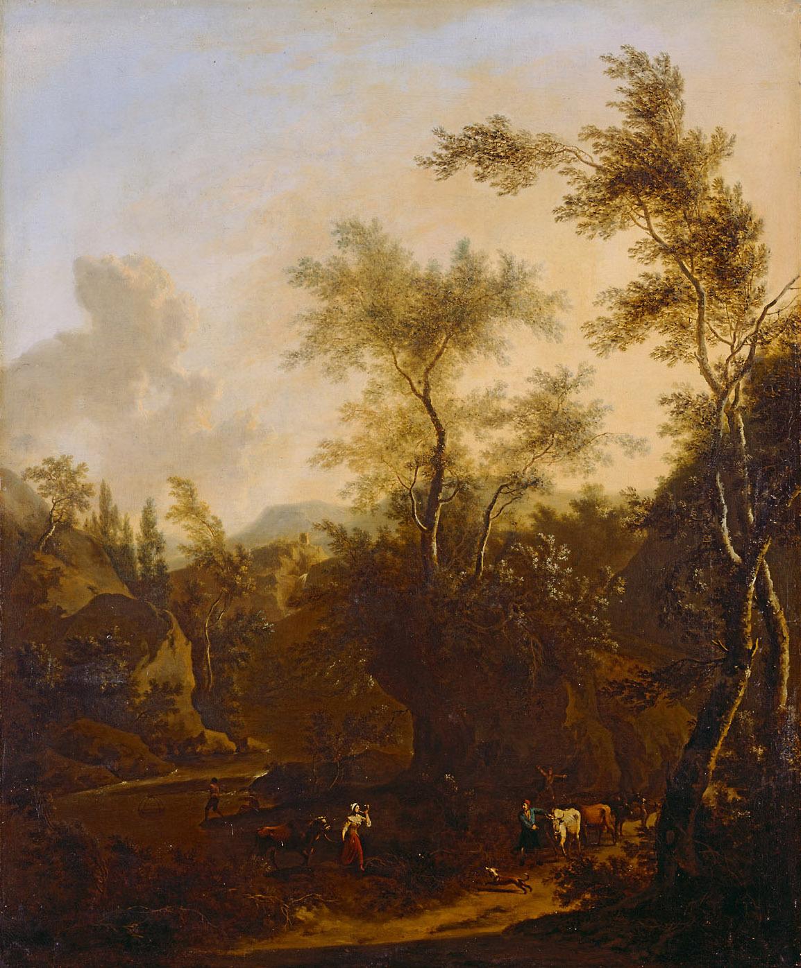 Landschaft mit Hirten und Herde von Frederick de Moucheron