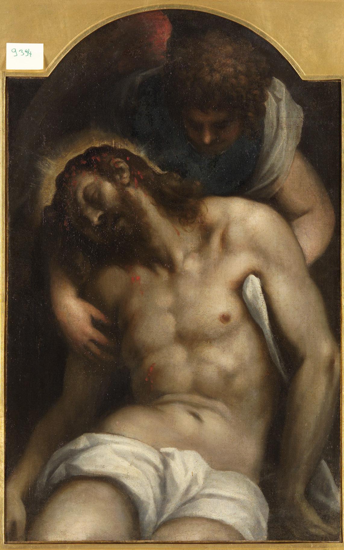 Leichnam Christi, von einem Engel gehalten von Jacopo Negretti, gen. Palma il Giovane