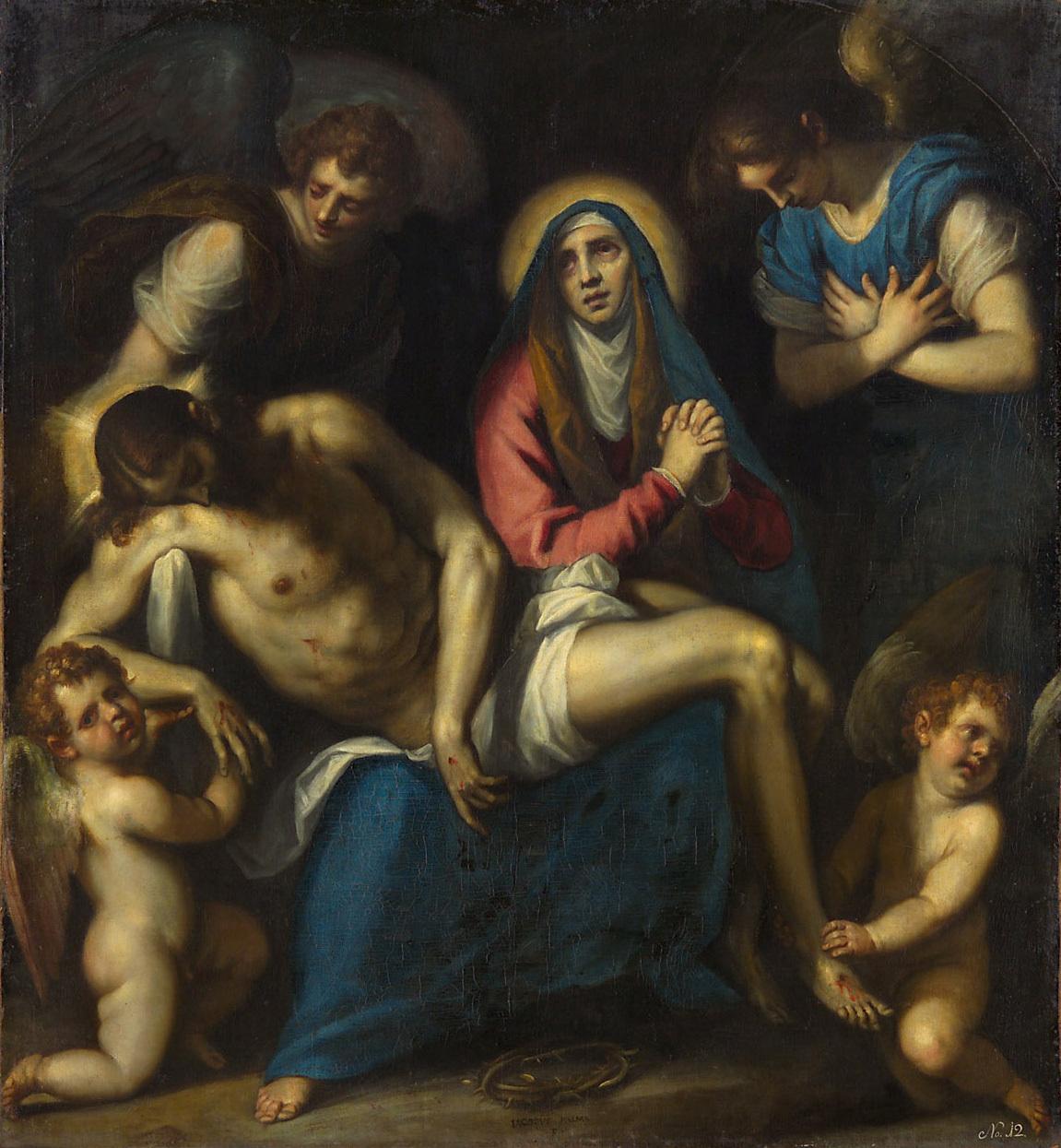 Pietà mit Engeln von Jacopo Negretti, gen. Palma il Giovane