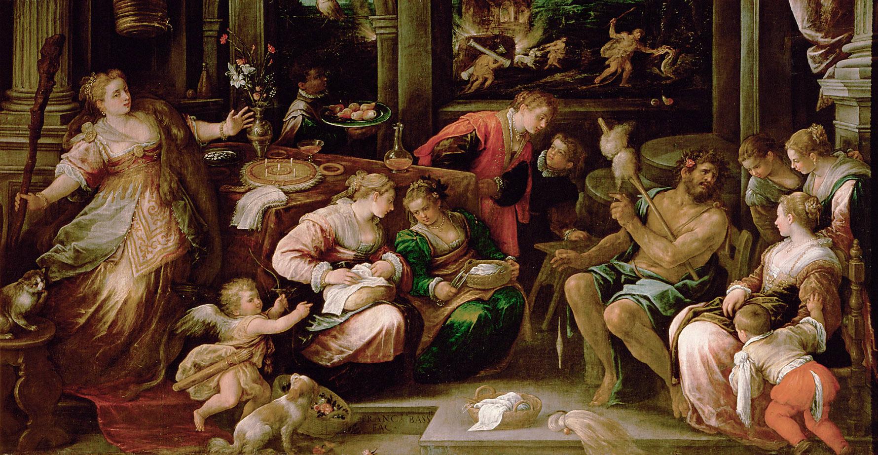 Herkules und Omphale von Francesco da Ponte, gen. Francesco Bassano