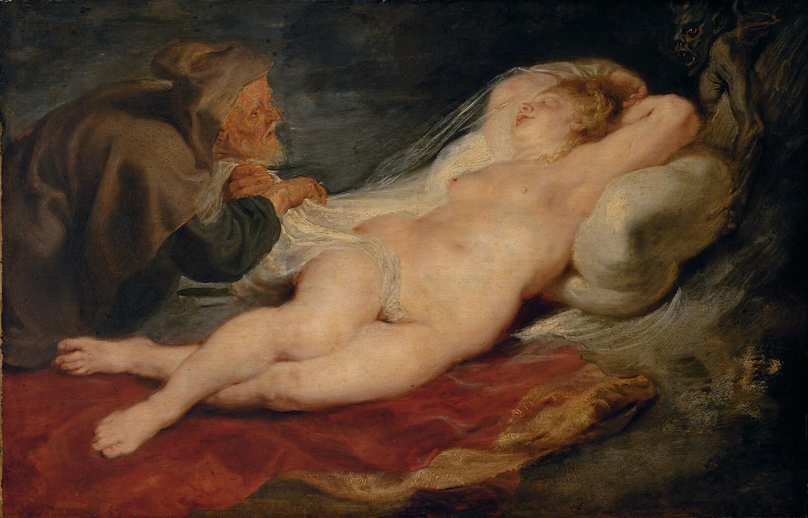 Einsiedler und schlafende Angelica von Peter Paul Rubens