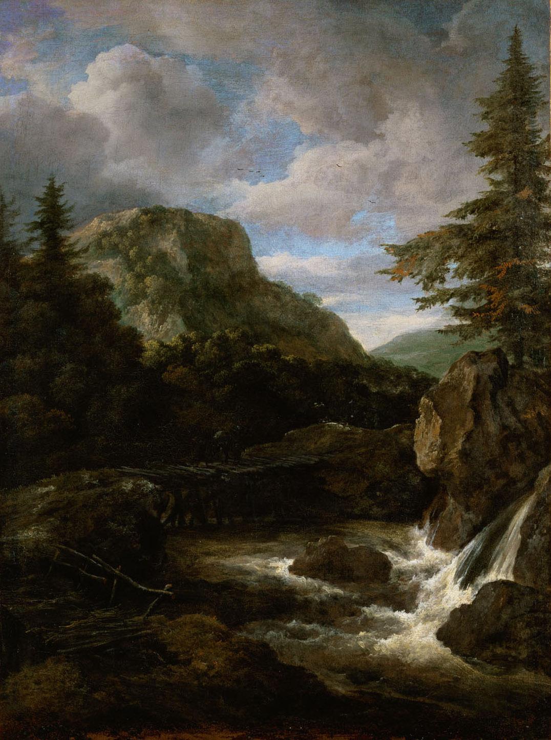 Berglandschaft mit Wasserfall von Jacob van Ruisdael