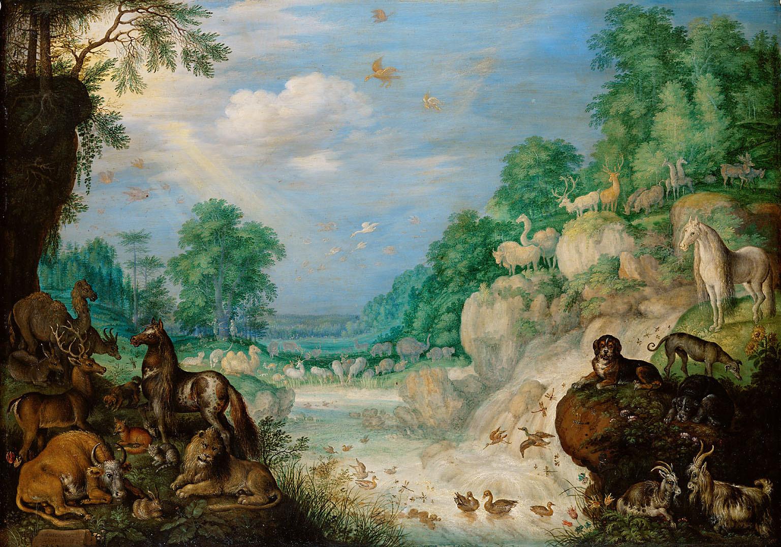 Paradies (Im Hintergrund: Der Sündenfall) von Roelant Savery