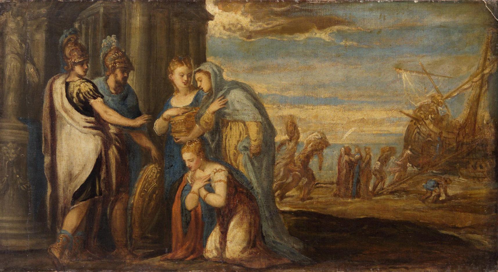 Aeneas nimmt Abschied von Dido