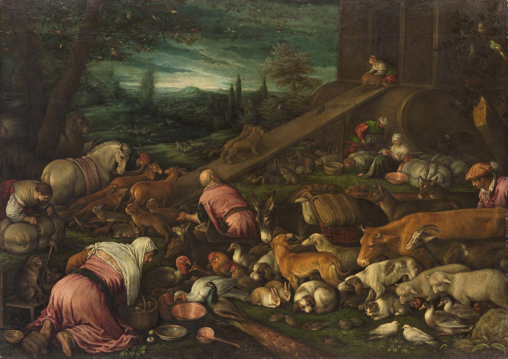 Einzug der Tiere in die Arche von Leandro da Ponte, gen. Leandro Bassano