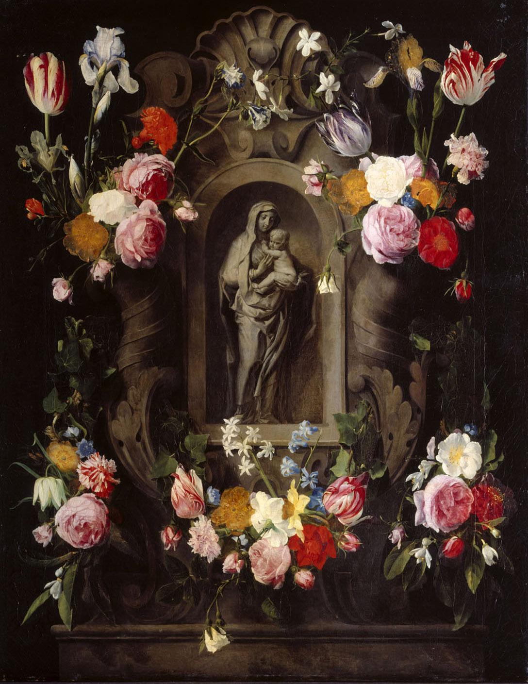 Marienstatuette von Blumen umrahmt von Daniel Seghers