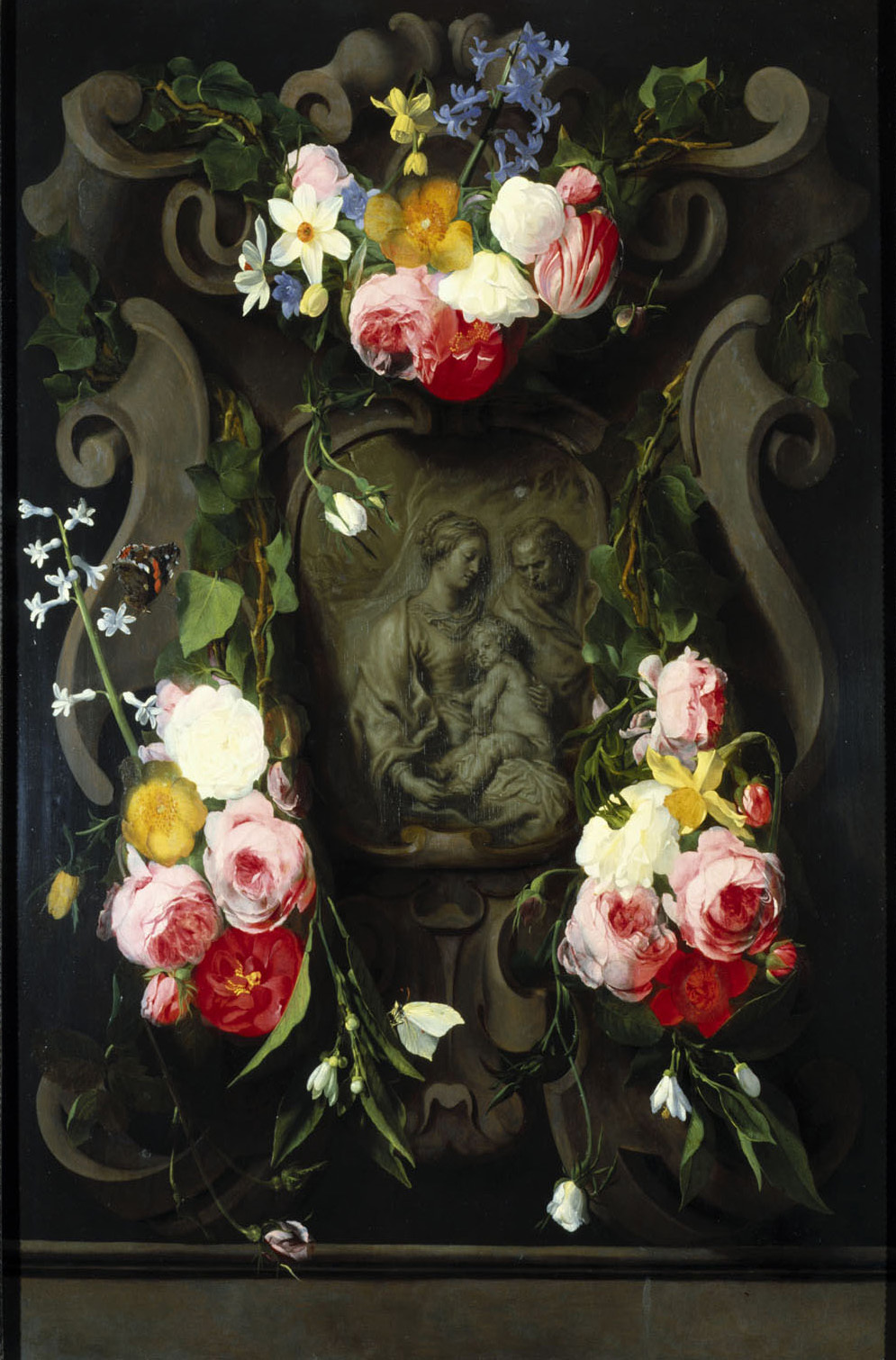 Heilige Familie im Blumenkranz von Daniel Seghers