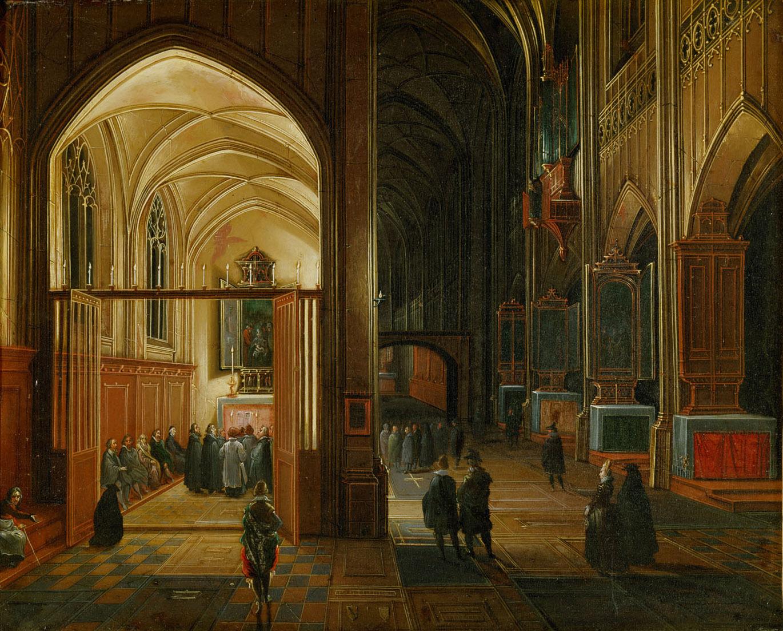 Abendlicher Gottesdienst in einer gotischen Kirche von Hendrick van Steenwijck d. Ä.