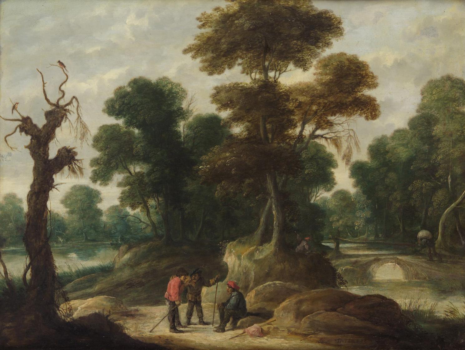 Landschaft mit drei Bauern von David Teniers d. J.
