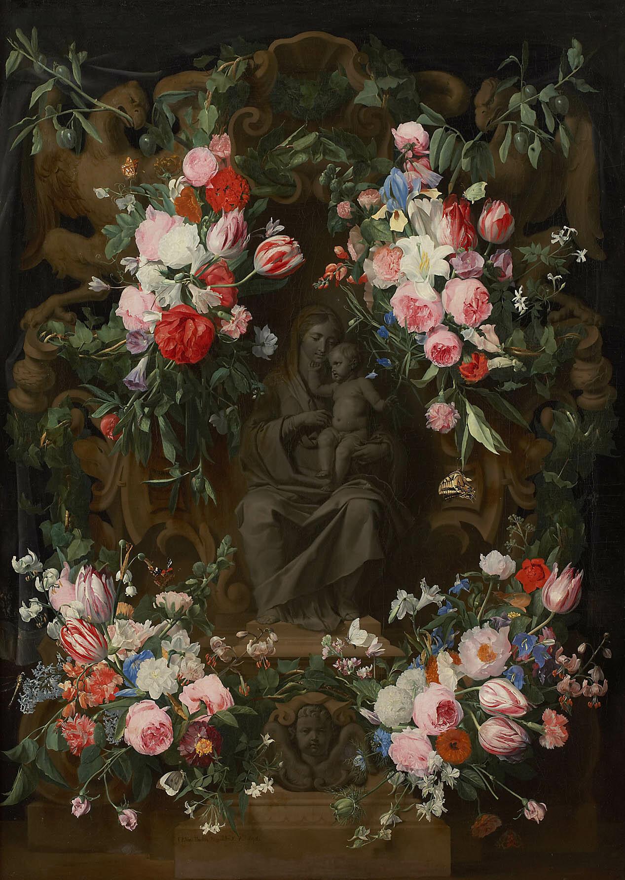 Sitzende Madonna von Blumen umrahmt von Jan Philips van Thielen