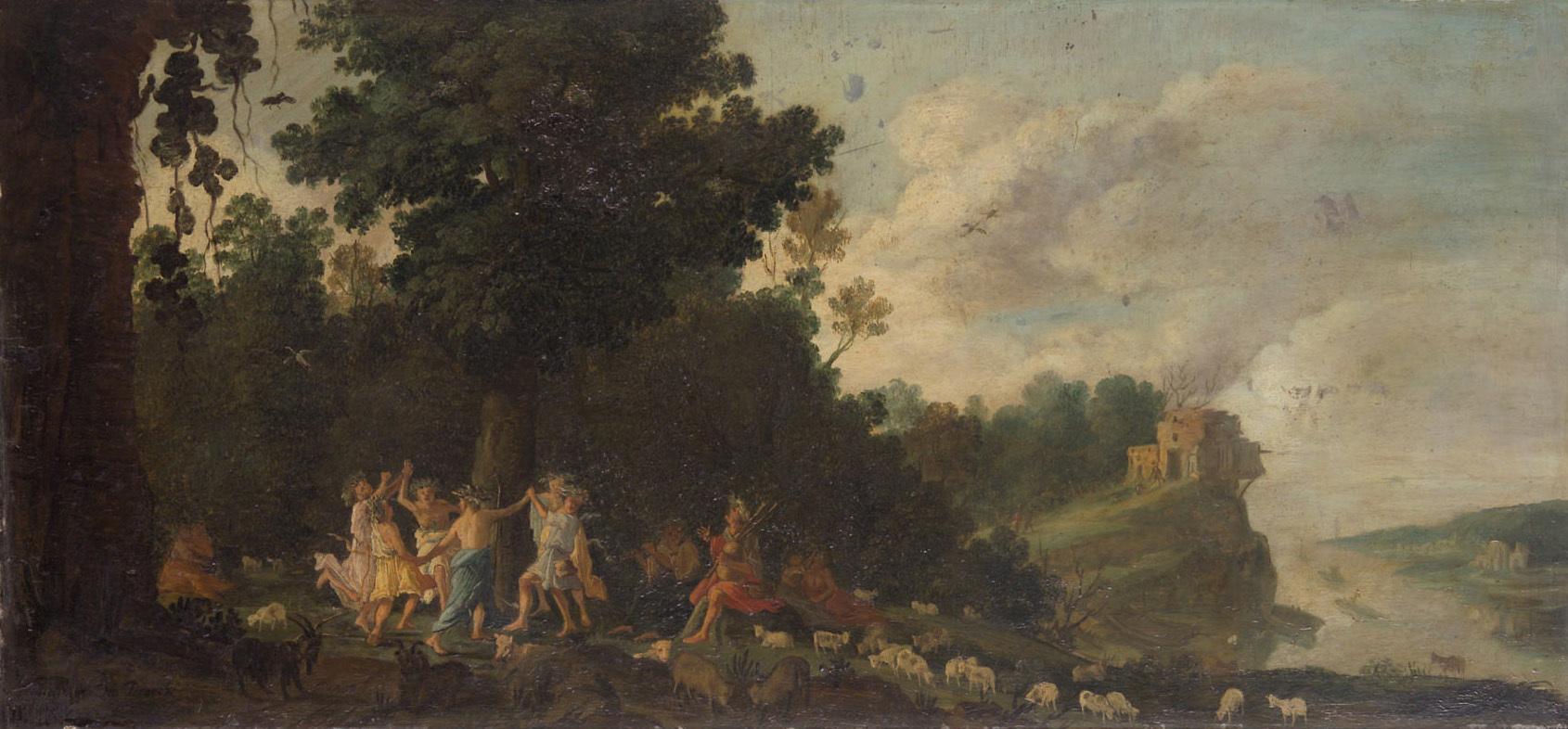 Landschaft mit tanzenden Hirten von Moyses van Uyttenbroeck