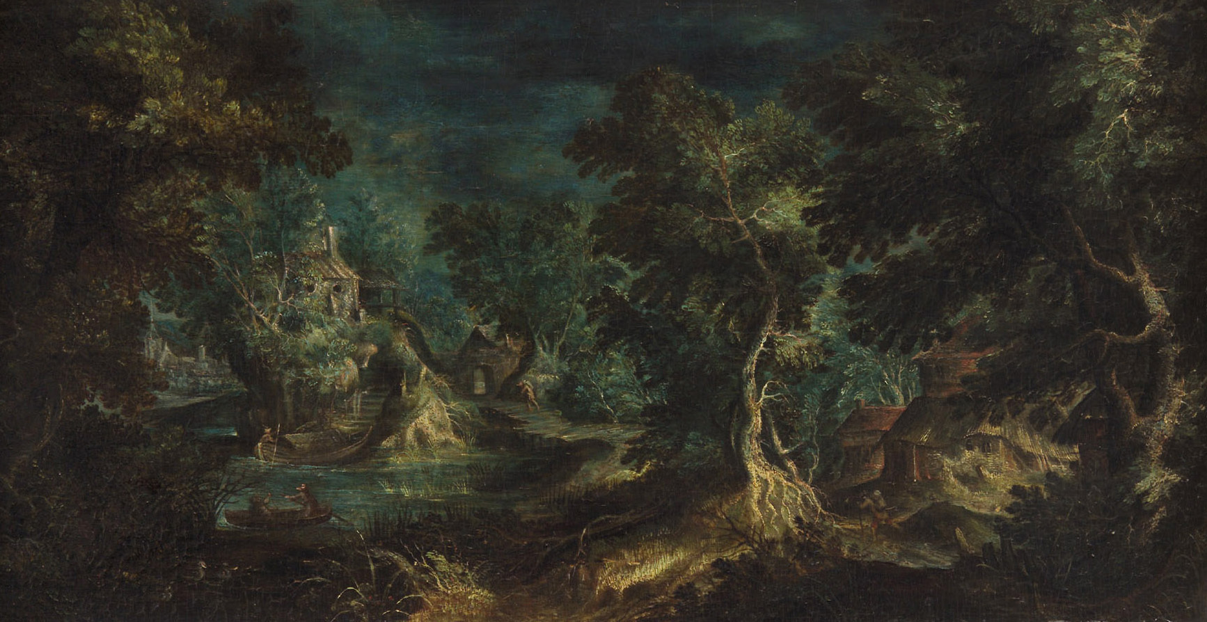 Phantastische Landschaft mit Hirten und Bäumen von Frederik I. van Valckenborch