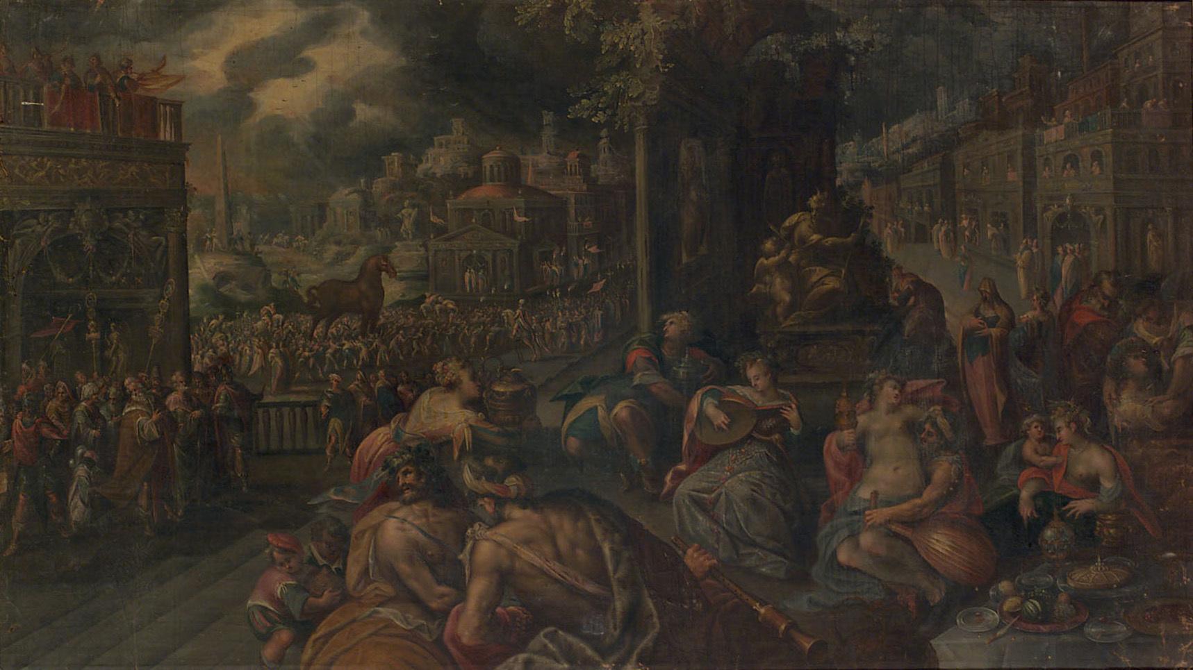Die Trojaner feiern den Einzug des hölzernen Pferdes in die Stadt von Frederik I. van Valckenborch