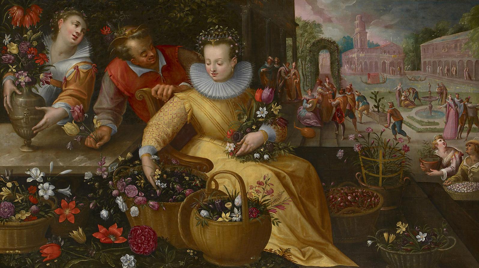 Blumenmarkt (Frühling) von Frederik I. van Valckenborch