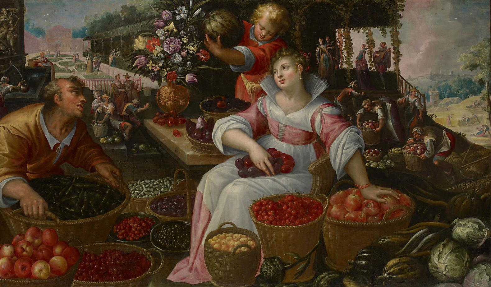 Früchtemarkt (Sommer) von Frederik I. van Valckenborch
