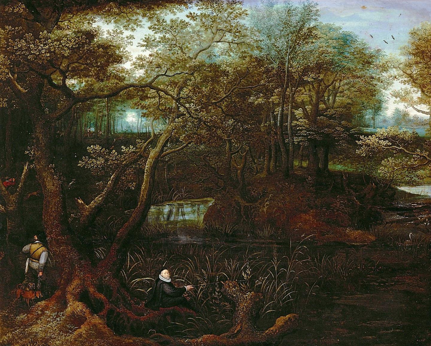 Angler am Waldteich (Selbstbildnis des Künstlers) von Lucas I. van Valckenborch