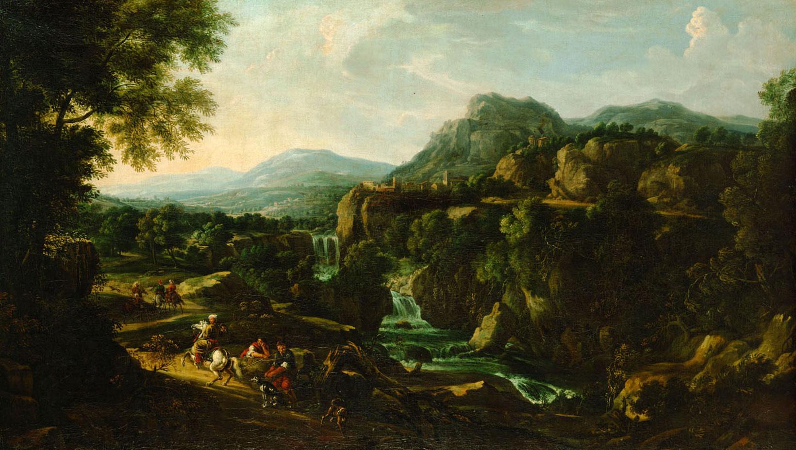Gebirgslandschaft mit Wasserfall von Willem van Bemmel