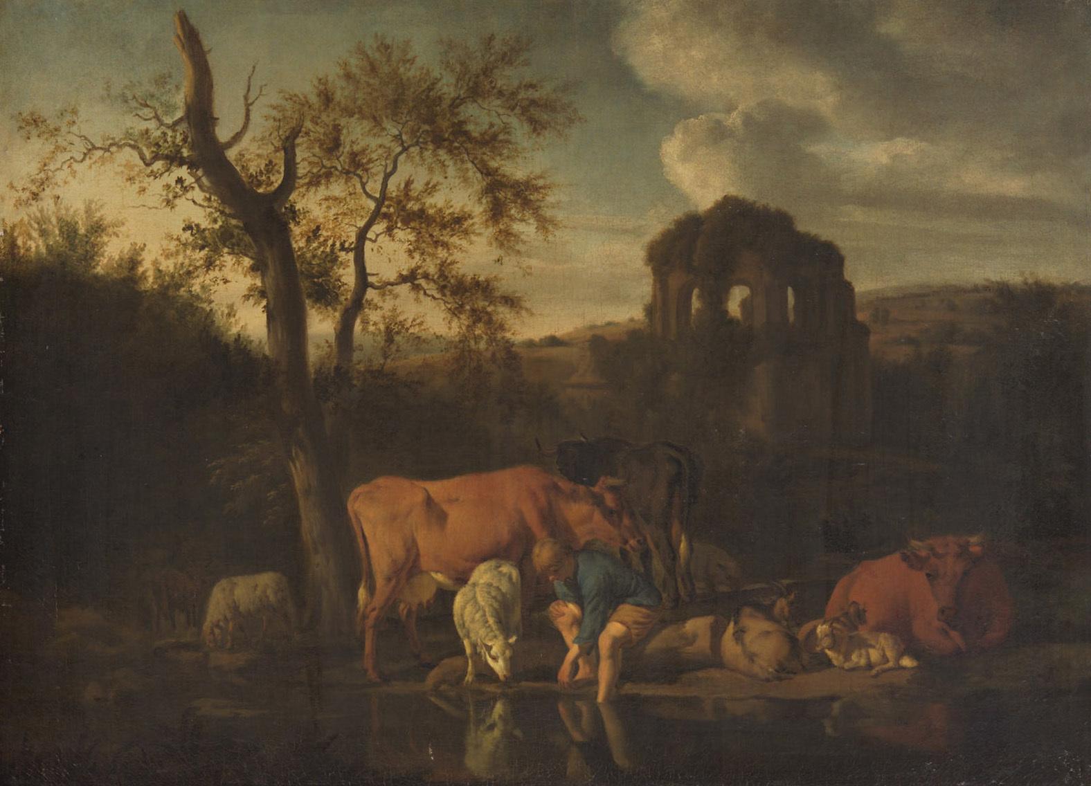 Landschaft mit Herde und Hirten von Adriaen van de Velde