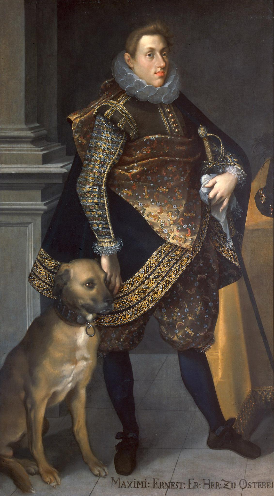 Erzherzog Maximilian Ernst (1583-1616) mit Jagdhund von Joseph Heintz d. Ä.