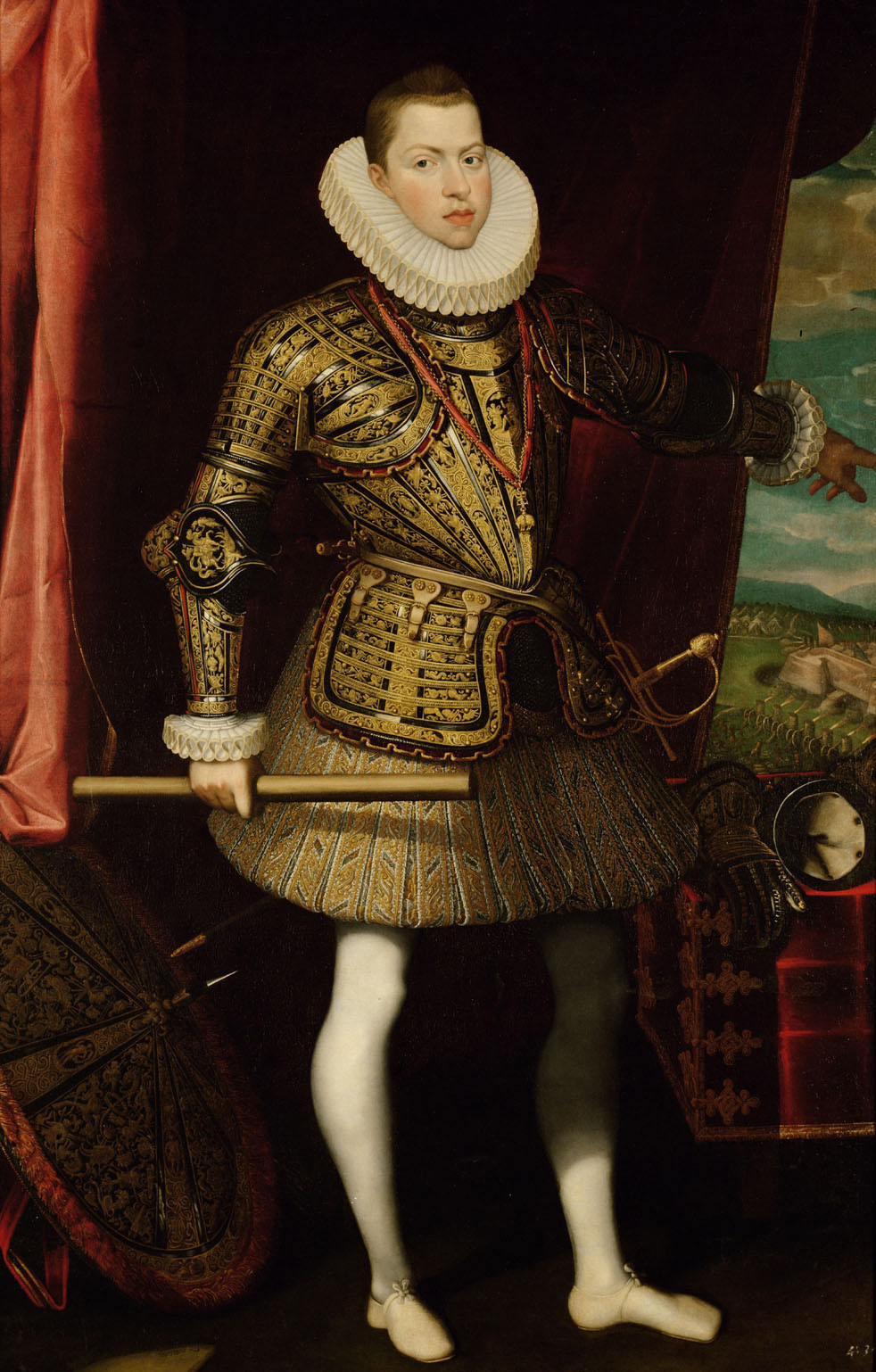 König Philipp III.(1578-1621) von Spanien, Bildnis in ganzer Figur als General der Infanterie (Im Hintergrund: Die Belagerung von Ostende 1601-1604) von Juan Pantoja de la Cruz