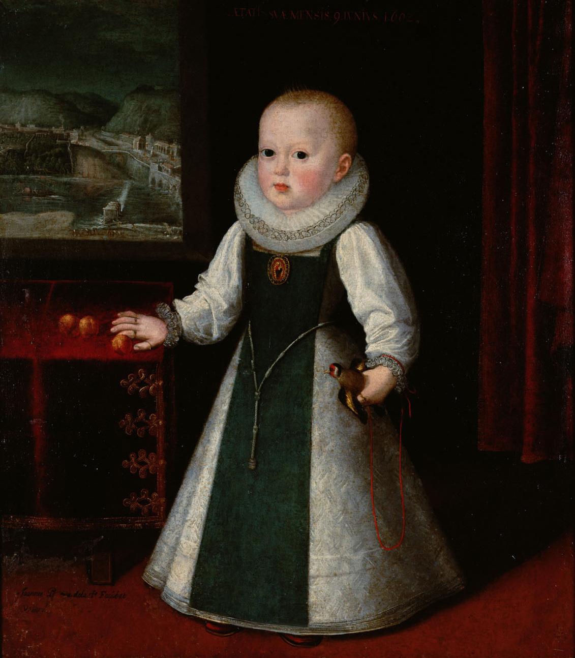 Infantin Anna (1601-1666), Königin von Frankreich, Bildnis in ganzer Figur im Alter von neun Monaten von Juan Pantoja de la Cruz