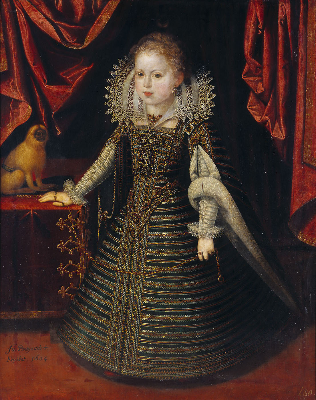 Infantin Anna (1601-1666), Königin von Frankreich, Bildnis in ganzer Figur mit einem Löwenäffchen von Juan Pantoja de la Cruz