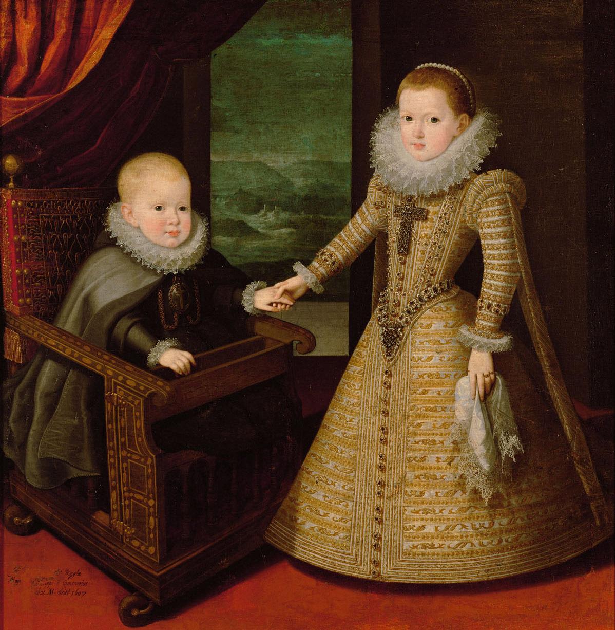 König Philipp IV. von Spanien (1605-1665) in geistlichem Gewand und seiner Schwester Infantin Anna (1601-1666), Bildnis in ganzer Figur von Juan Pantoja de la Cruz