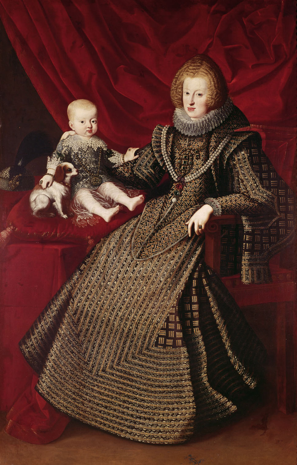 Infantin Maria Anna (1606-1646), Kaiserin, in ganzer Figur mit ihrem erstgeborenen Sohn Ferdinand (1633-1654) von Österreichisch