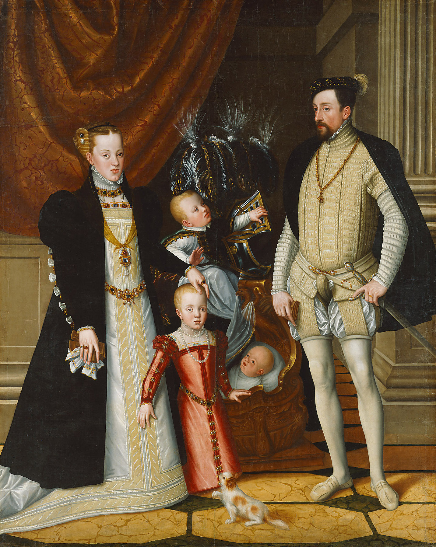 Maximilian II. (1527-1576) und seine Gemahlin Maria von Spanien (1528-1603) und seine Kinder Anna (1549-1580), Rudolf (1552-1612) und Ernst (1553-1595) von Giuseppe Arcimboldo