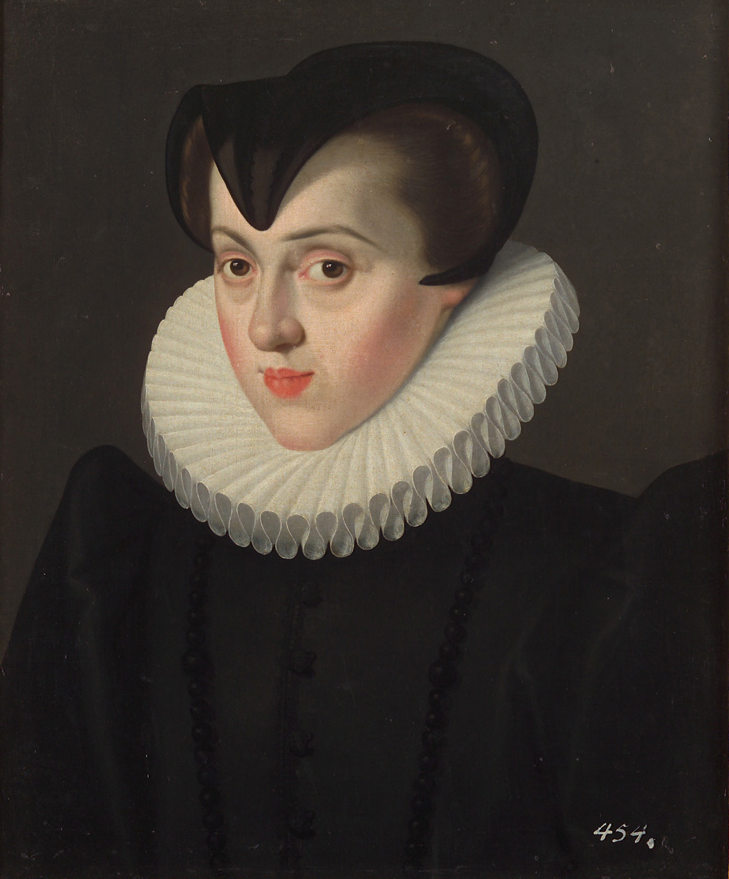 Erzherzogin Elisabeth (1554-1592), Königin von Frankreich, in Witwentracht, Brustbild von Jakob de Monte