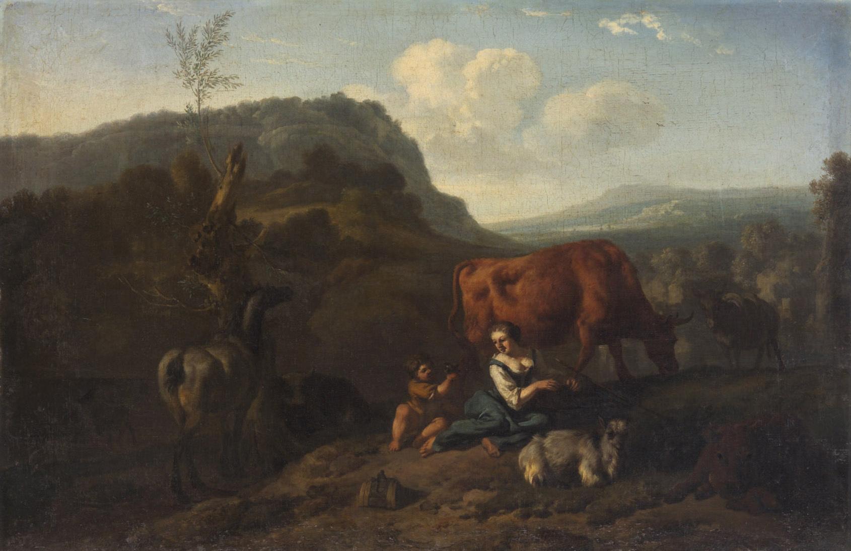 Landschaft mit Hirten und Herde von Dirck van Bergen