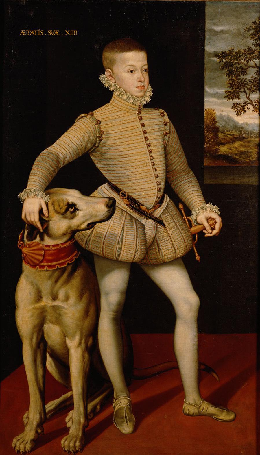 Erzherzog Albrecht VII. (1559-1621) im Alter von 14 Jahren mit einer Dogge, in ganzer Figur von Spanisch