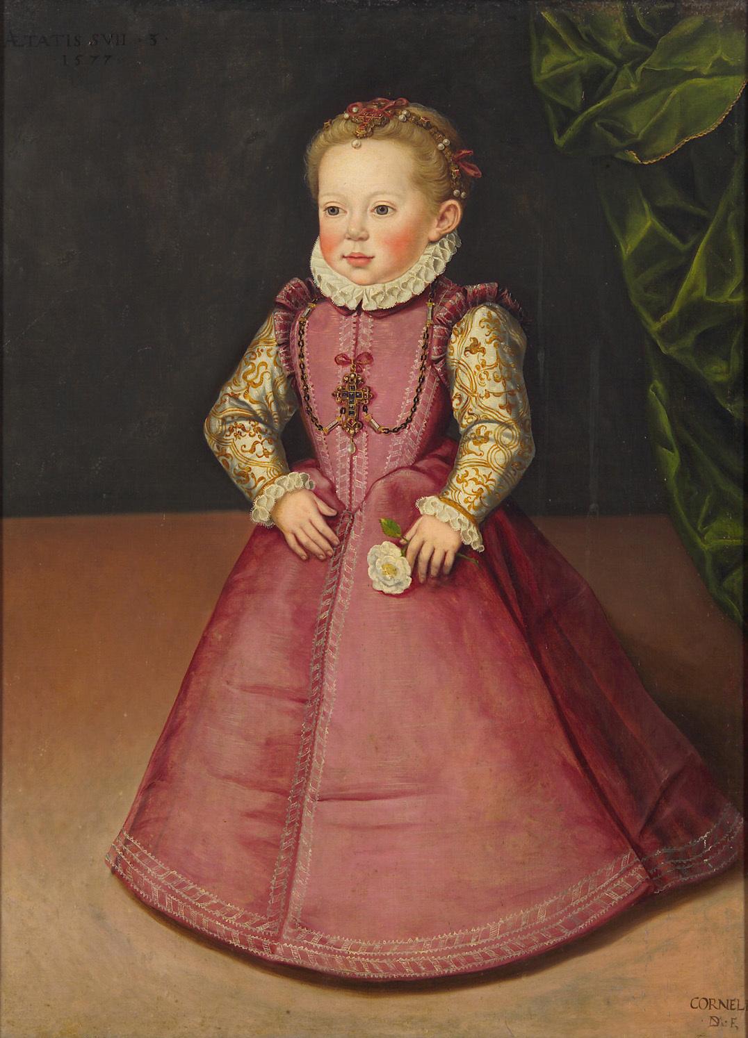 Erzherzogin Maria Christierna (1574-1621) im Alter von drei Jahren, in ganzer Figur von Cornelis Vermeyen