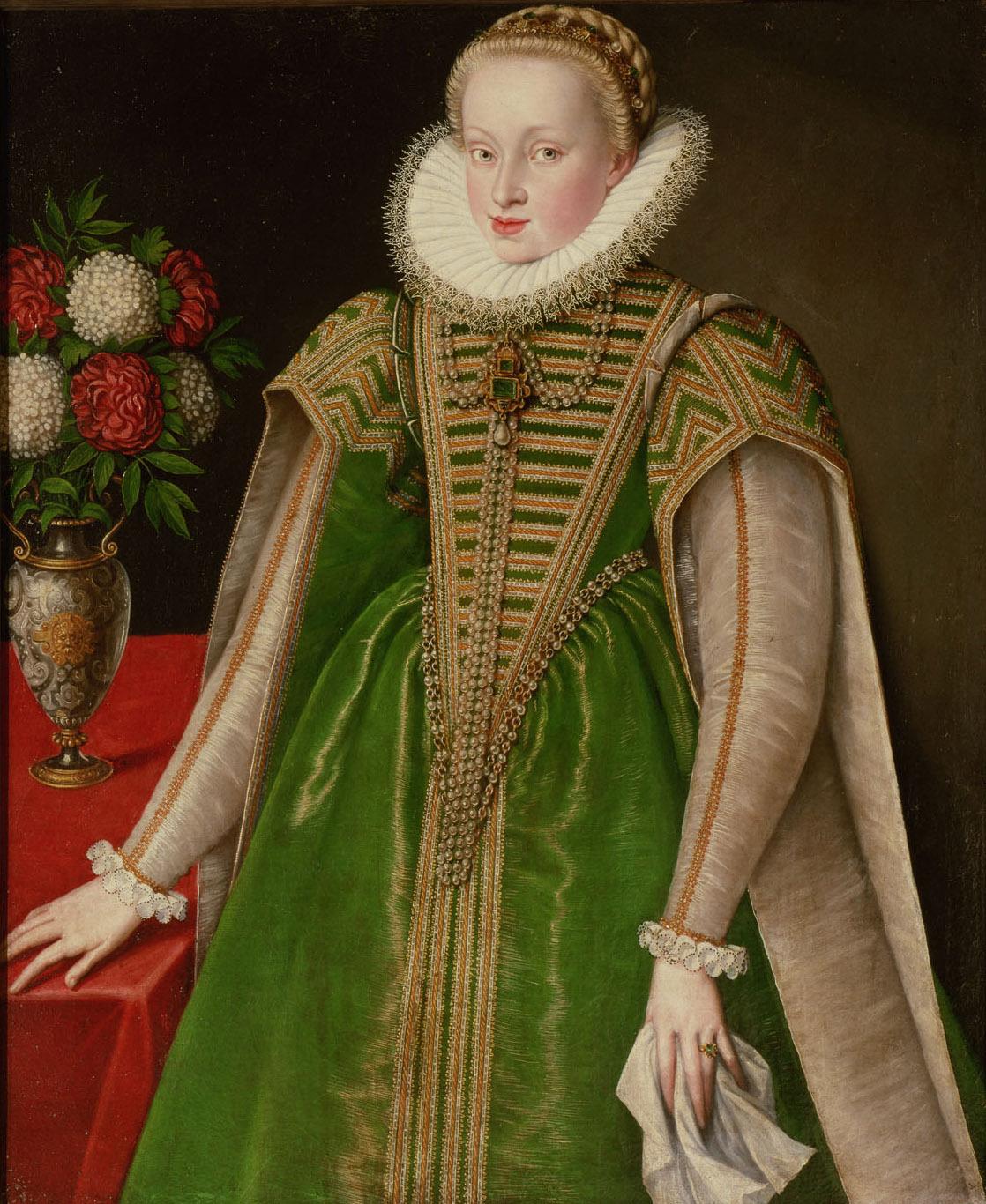 Erzherzogin Maria Christierna (1574-1621) in grünem Gewand, Kniestück von Österreichisch