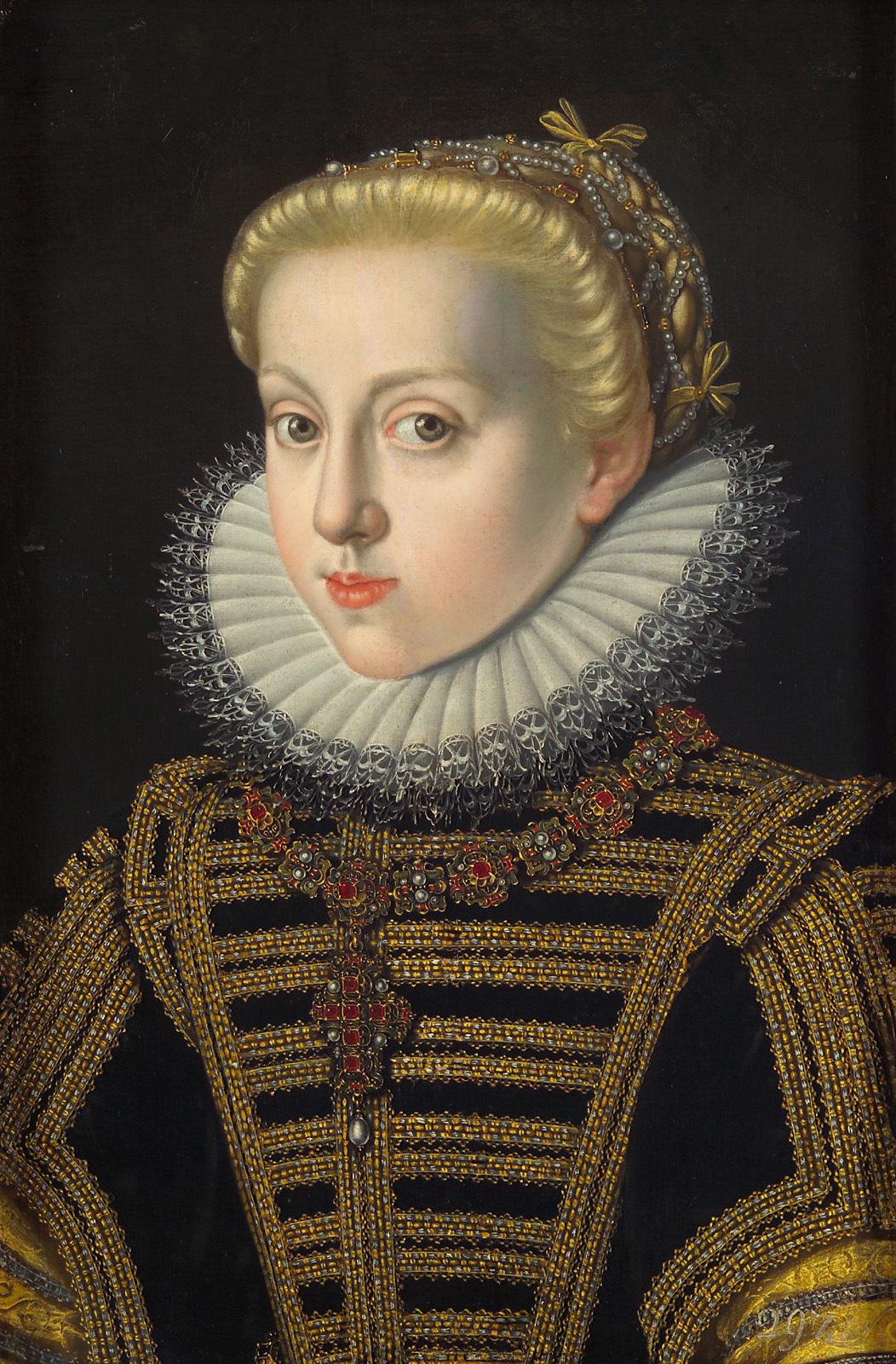 Erzherzogin Katharina Renea (1576-1595) in schwarzem Kleid, Brustbild von Jakob de Monte