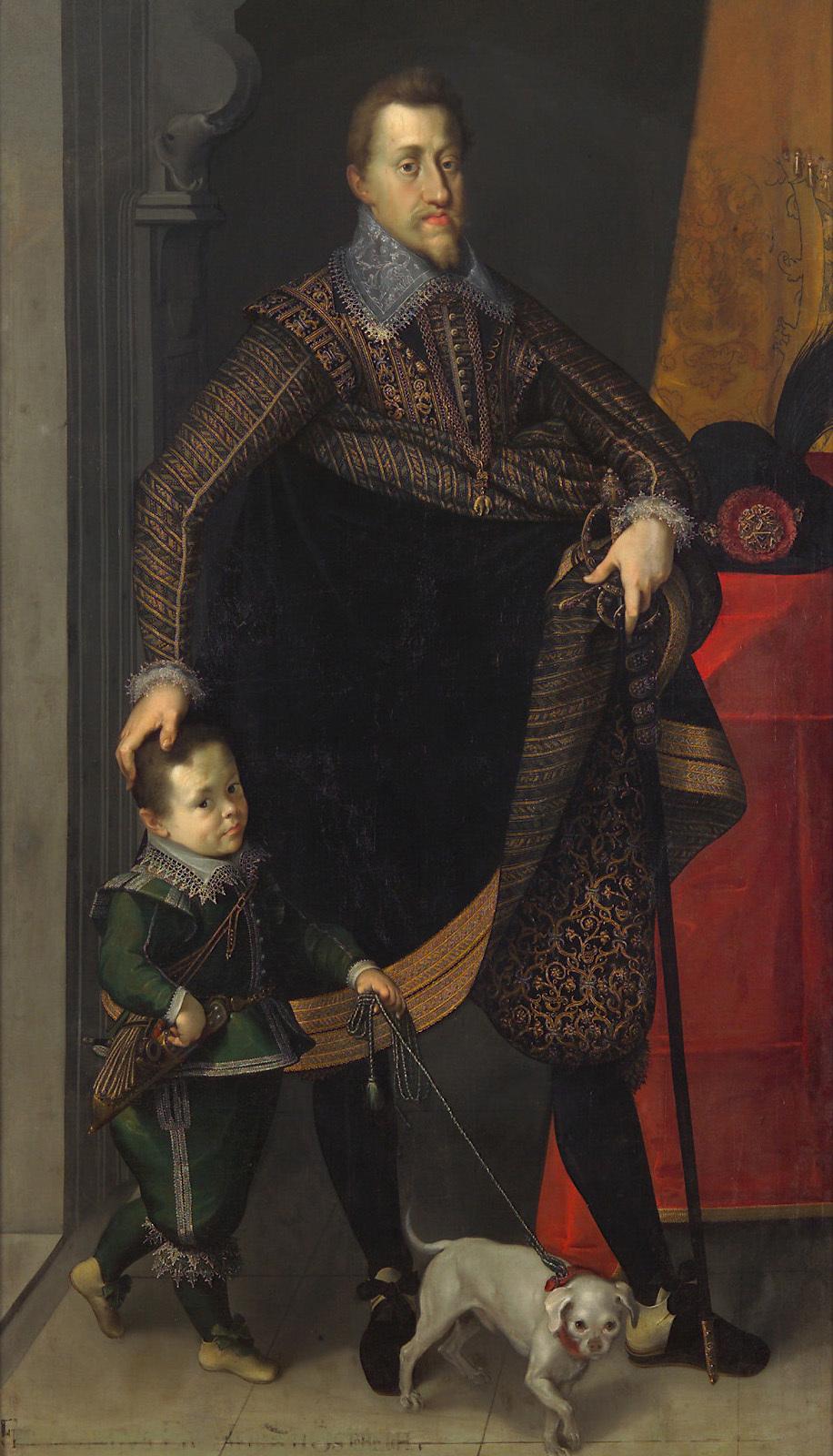 Kaiser Ferdinand II. (1578-1637) in ganzer Figur mit einem Hofzwerg von Joseph Heintz d. Ä.