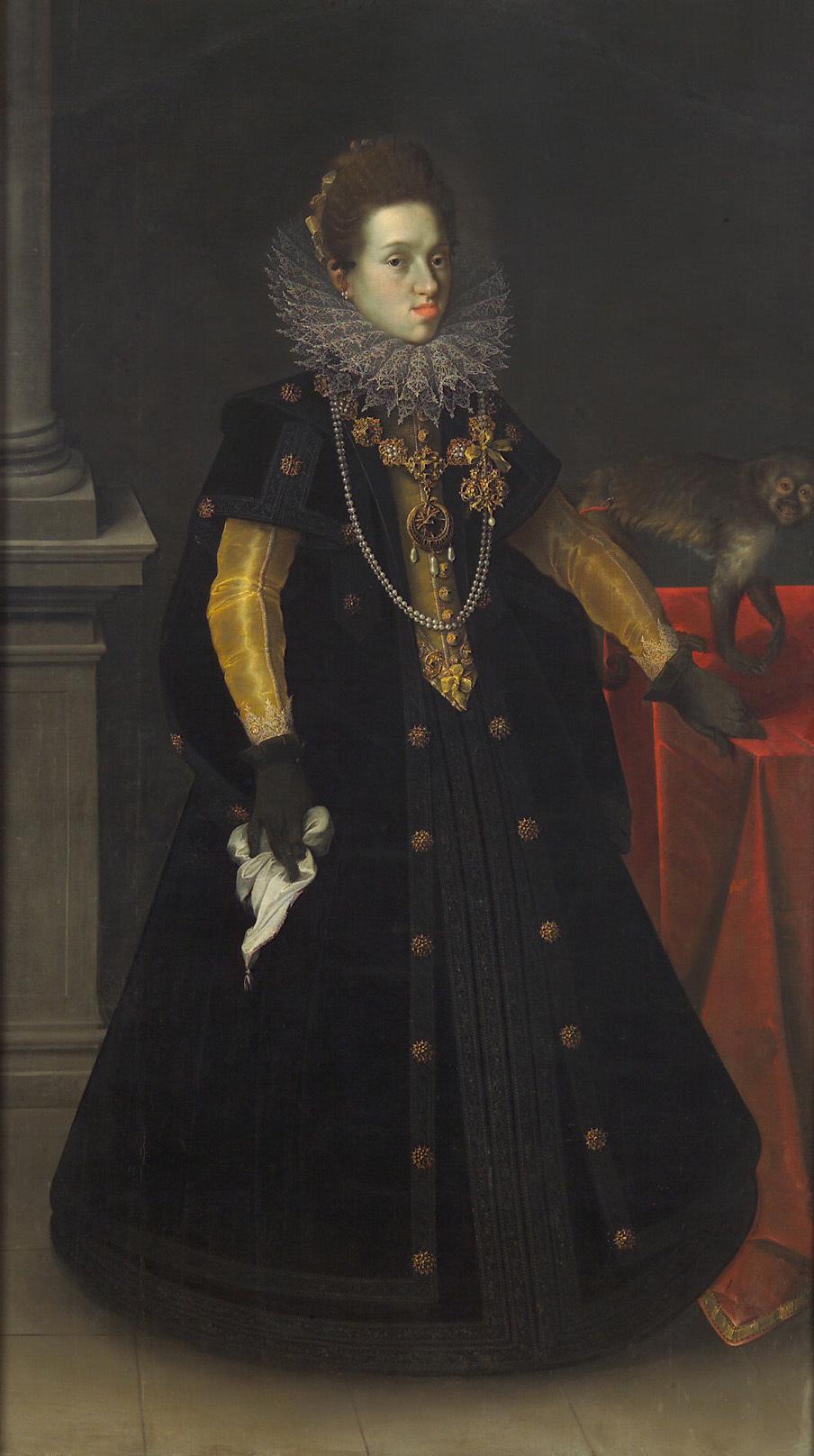 Erzherzogin Konstanze (1588-1631), Königin von Polen, mit einer Meerkatze von Joseph Heintz d. Ä.