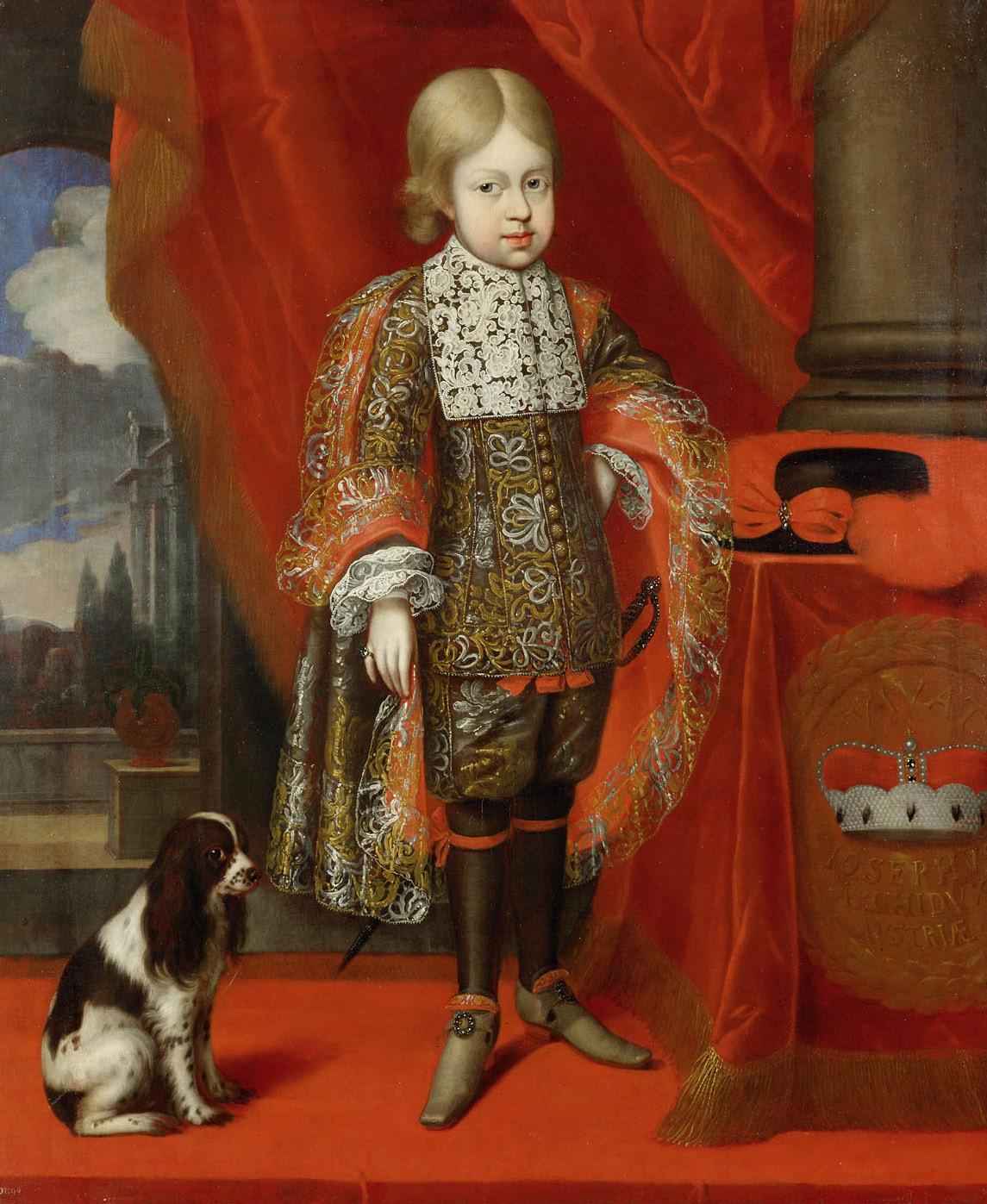 Kaiser Joseph I. (1678-1711) im Alter von sechs Jahren mit einem Hund, in ganzer Figur von Benjamin von Block