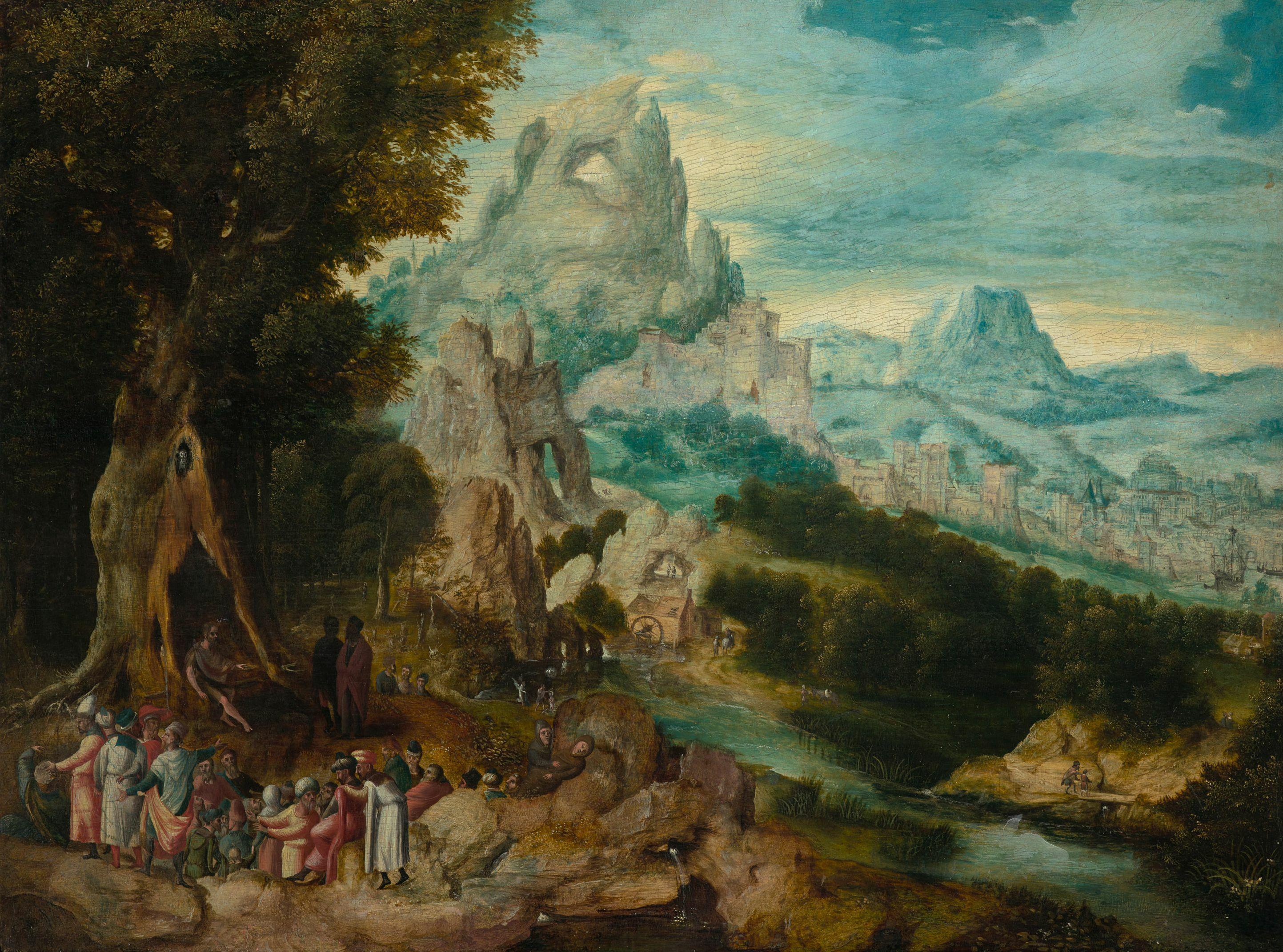Landschaft mit der Predigt Johannes d. Täufers von Herri met de Bles