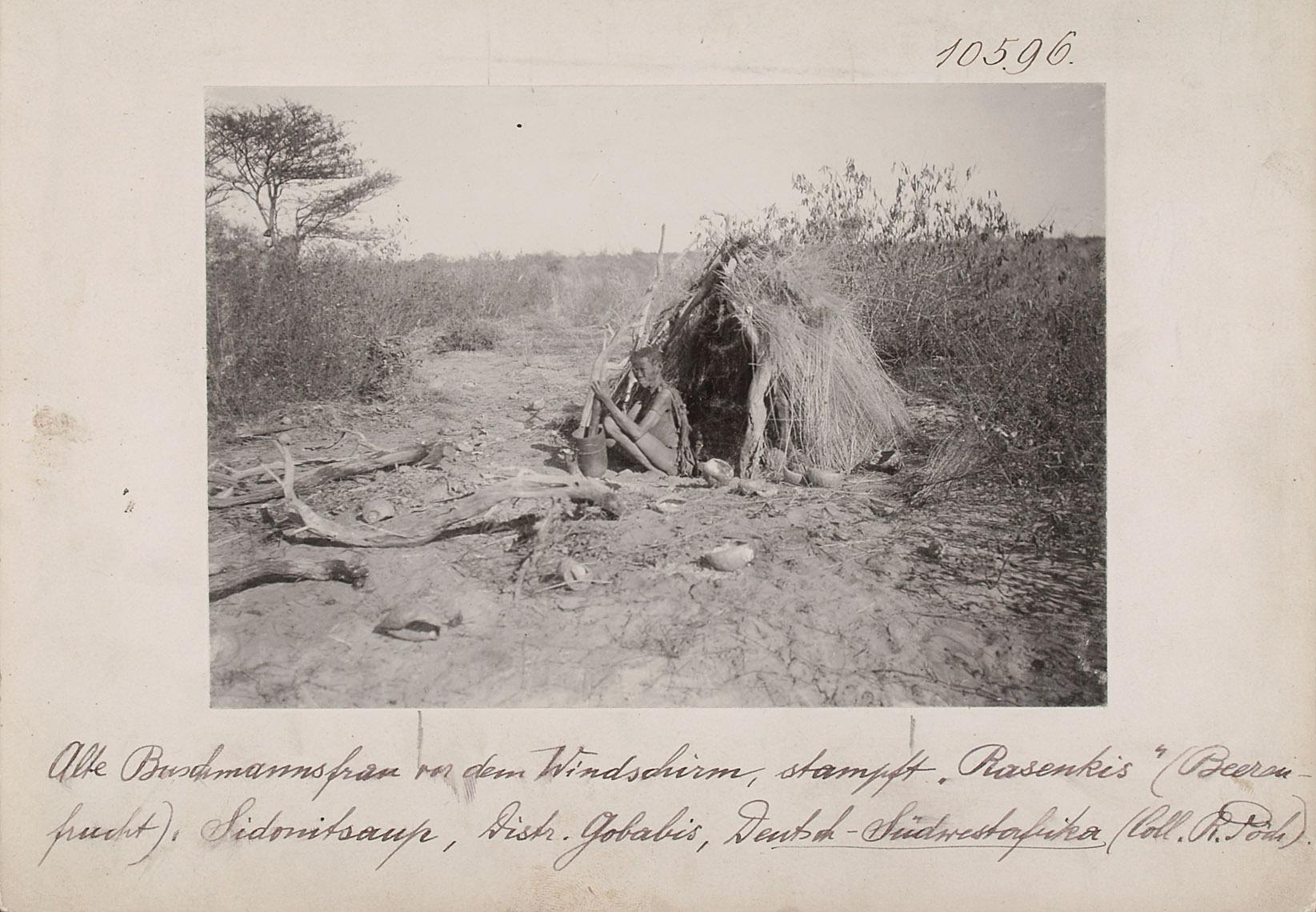 """Alte San-Frau vor dem Windschirm, stampft """"Rasenkis"""" (Beerenfrucht), Sidonitsaup, Distr. Gobabis, Deutsch-Südwestafrika von Rudolf Pöch"""