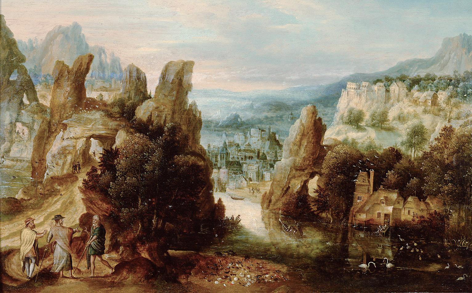 Landschaft mit dem Gang nach Emmaus von Herri met de Bles