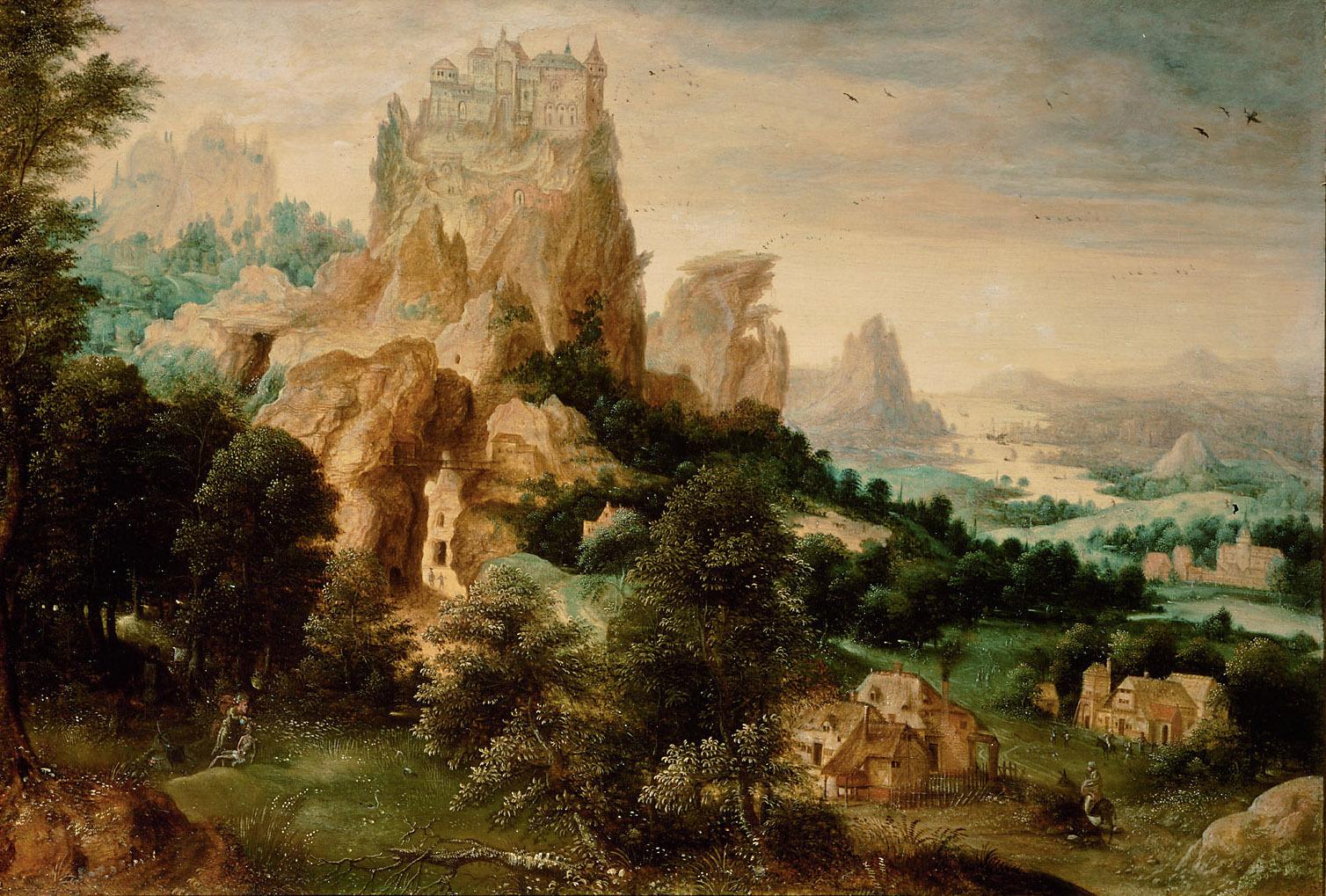 Landschaft mit dem Gleichnis vom Barmherzigen Samariter von Herri met de Bles