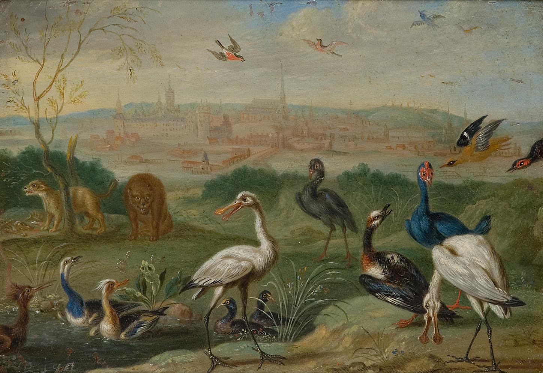 Ansichten aus den vier Weltteilen mit Szenen von Tieren: Stockholm von Ferdinand van Kessel